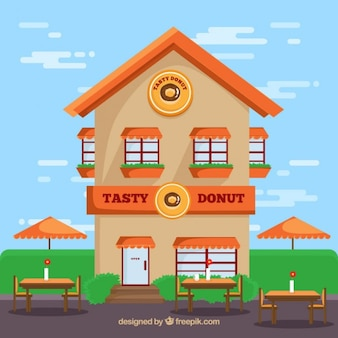 Flat Restaurant Facade Illustration
