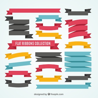 Flat ribbons collection in colored style