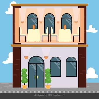 Flat Romantic Restaurant Illustration