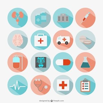 Flat round medical icons set
