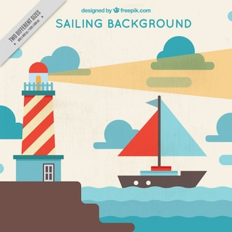 Flat sailing landscape background