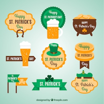 Flat Saint Patrick Day Label Set