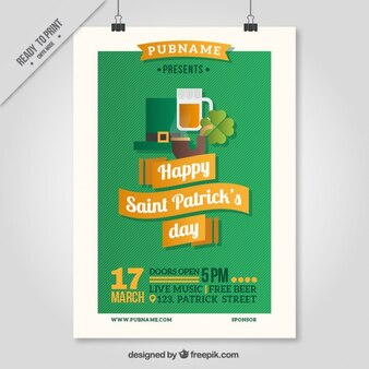 Flat Saint Patrick Day Party Poster
