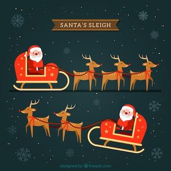 Flat Santa Claus Sleigh Pack