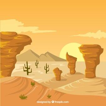 Flat scene of wild west