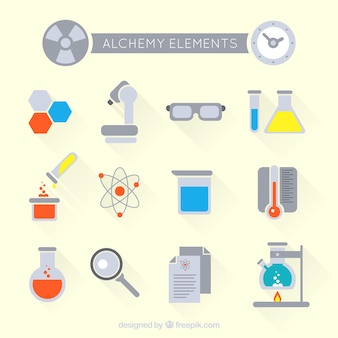 Flat science elements set
