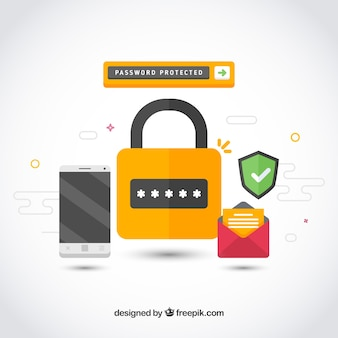 Flat security background with different elements