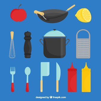 Flat selection of chef elements with color details