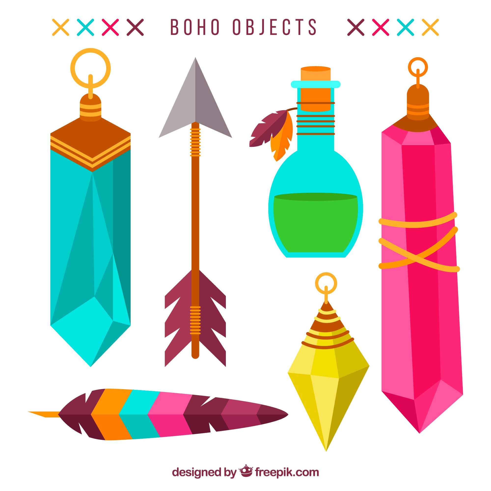 Flat selection of colorful boho objects