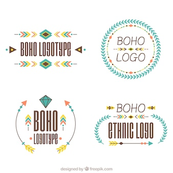 Flat selection of ethnic logos