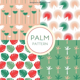 Flat selection of four palm tree patterns