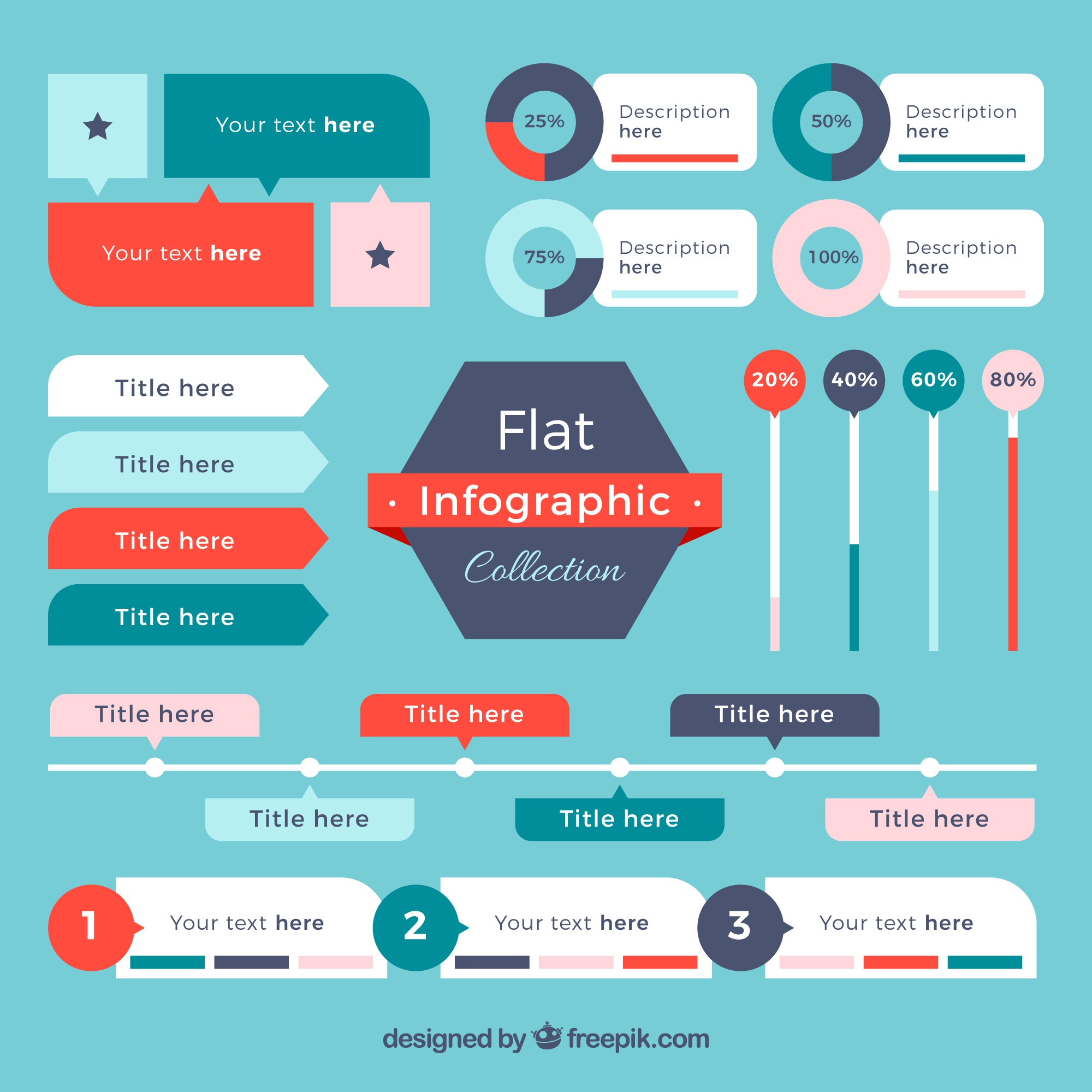 Flat selection of infographic elements