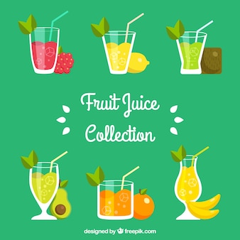 Flat selection of tasty fruit juices