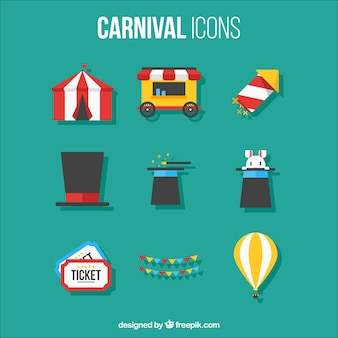 Flat set of carnival icons