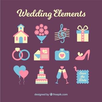 素晴らしい結婚式の要素のフラットセット