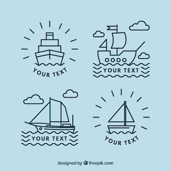 Flat set of four linear boat logos