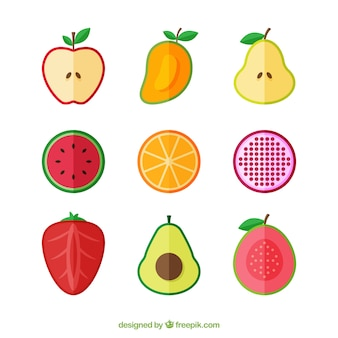 Flat set of fruits cut in half