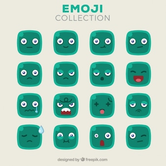Flat set of green square emoticons