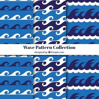 白い細部と3つの波のパターンのフラットセット