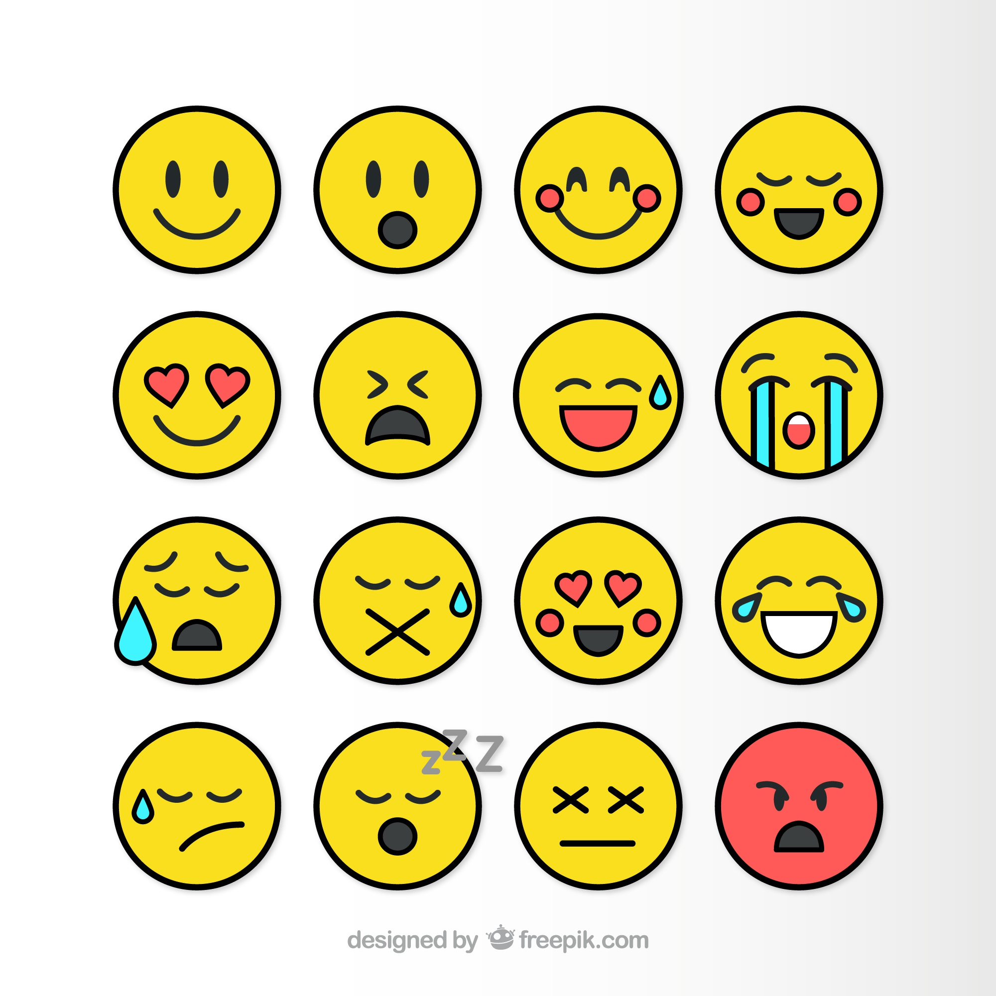 Flat smileys pack
