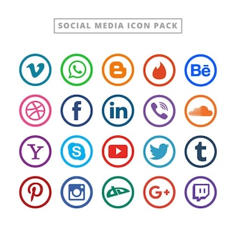 Flat social media logo collection