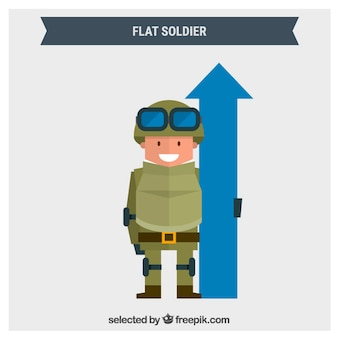 Flat soldier with a blue arrow