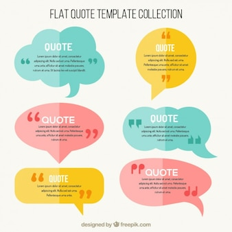 Flat speech bubbles with quote template