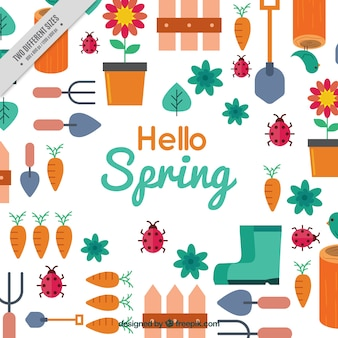 Flat spring background with gardening items