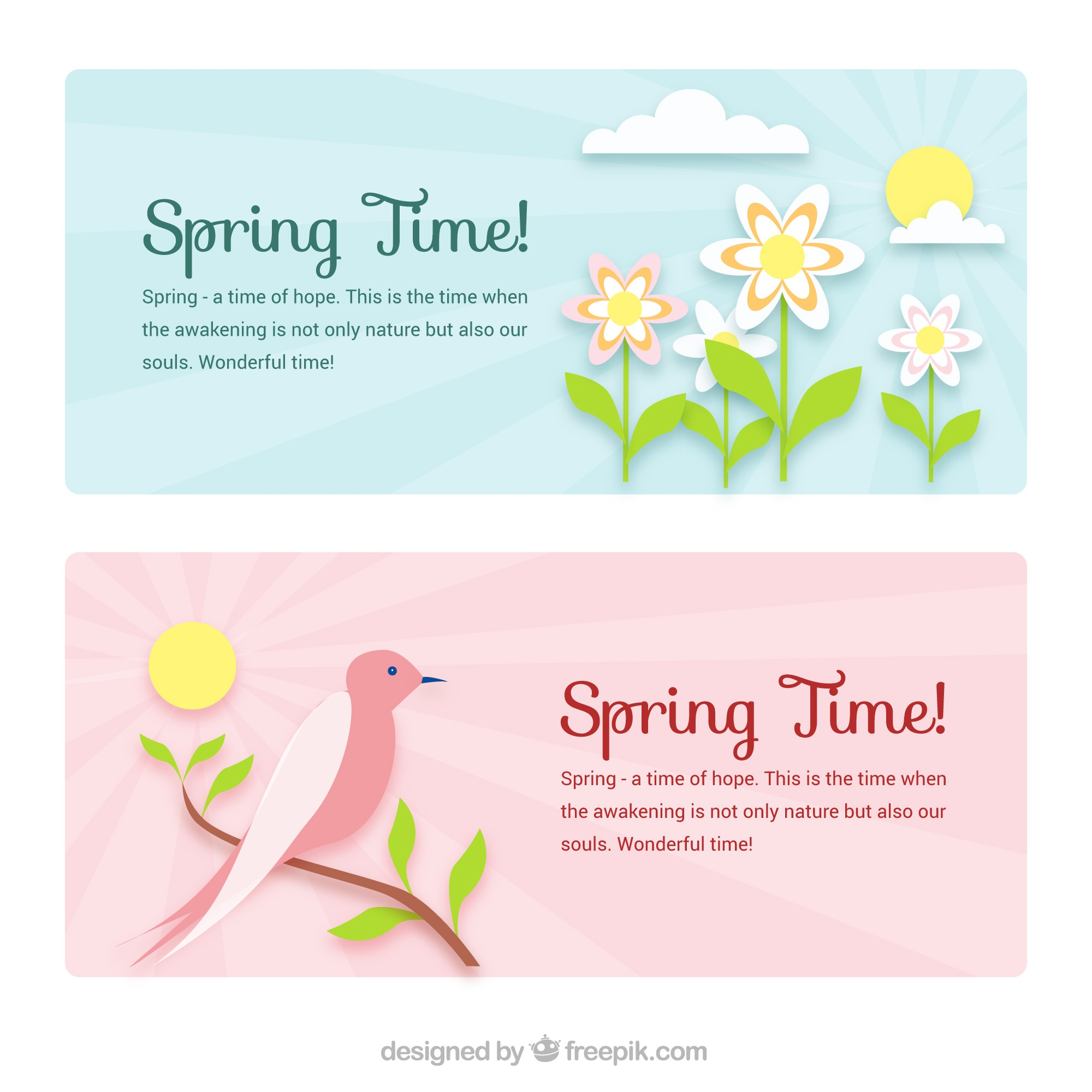 Flat spring banners with bird and flowers