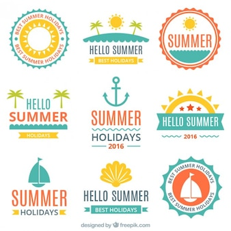 Flat summer and sailing stickers pack