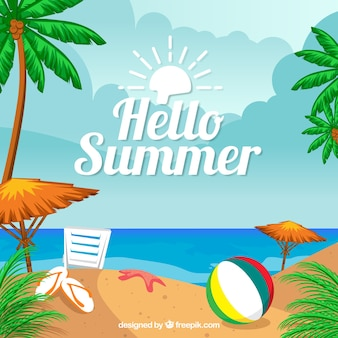 Flat summer background with colored elements