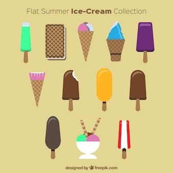 Flat summer ice-creams set
