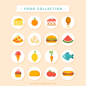 Flat tasty and delicious food collection