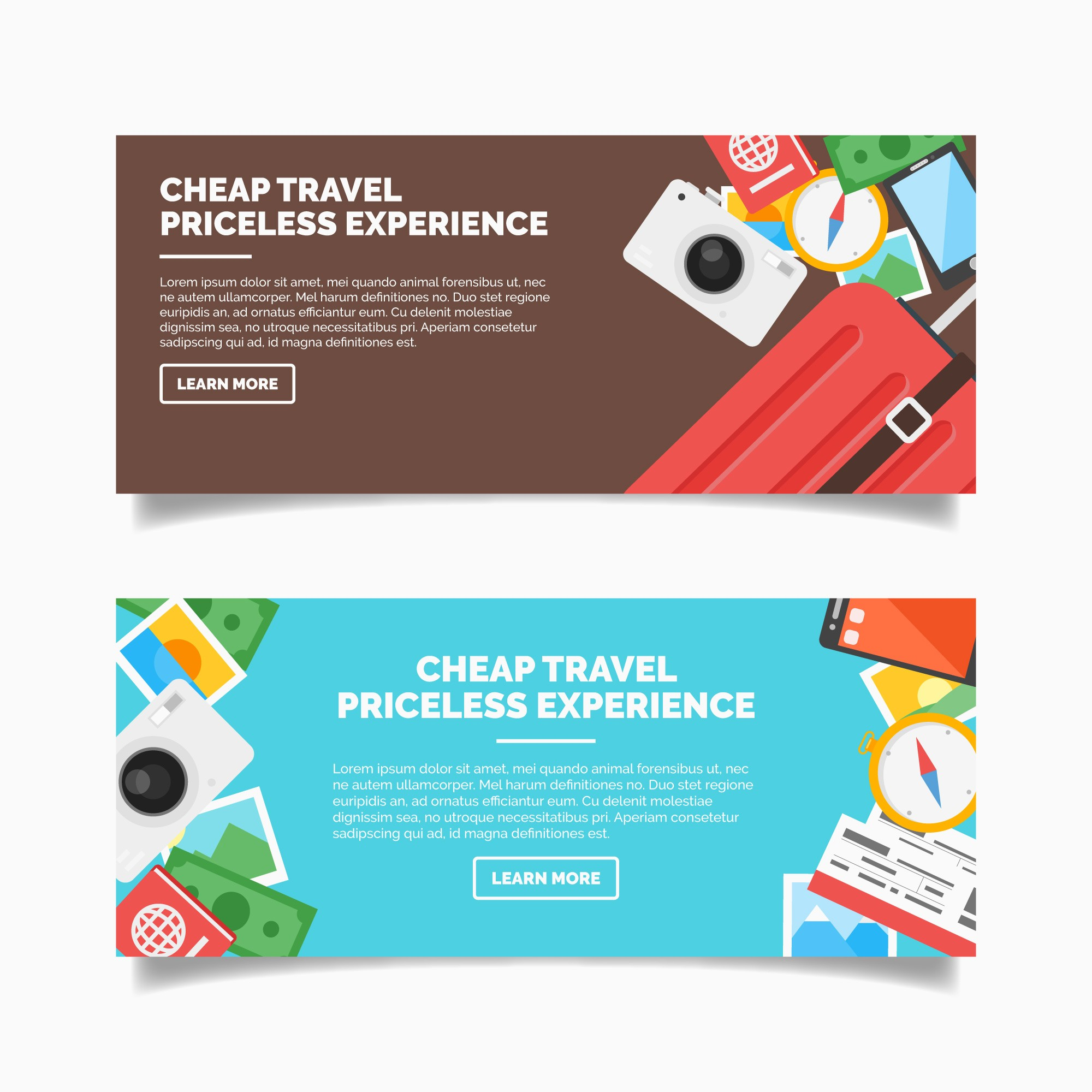 Flat travel banners with colorful items
