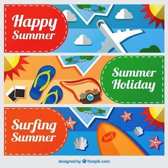 Flat travel banners with summer elements