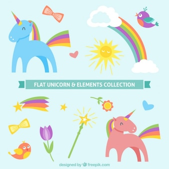 Flat unicorn and elements collection