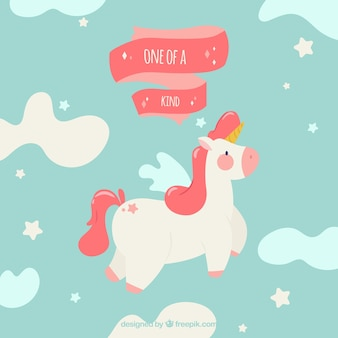 Flat unicorn flying in the sky
