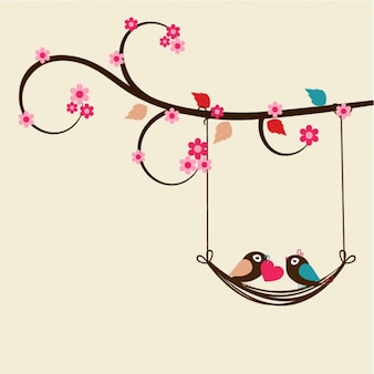 Flat valentine's background with romantic birds
