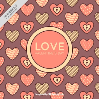 Flat valentine's day background of hearts with different designs
