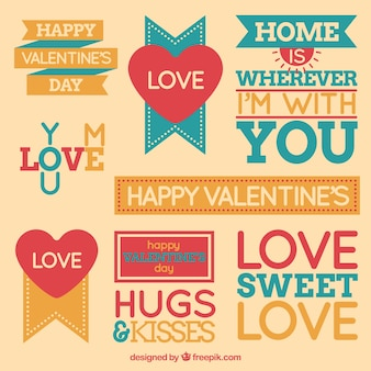 Flat valentine's day labels with great designs