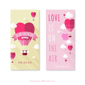 Flat valentines banners with hot air balloons