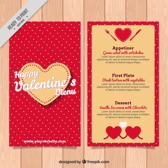 Flat valentines day menu