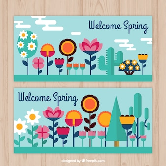Flat variety of flowers banners