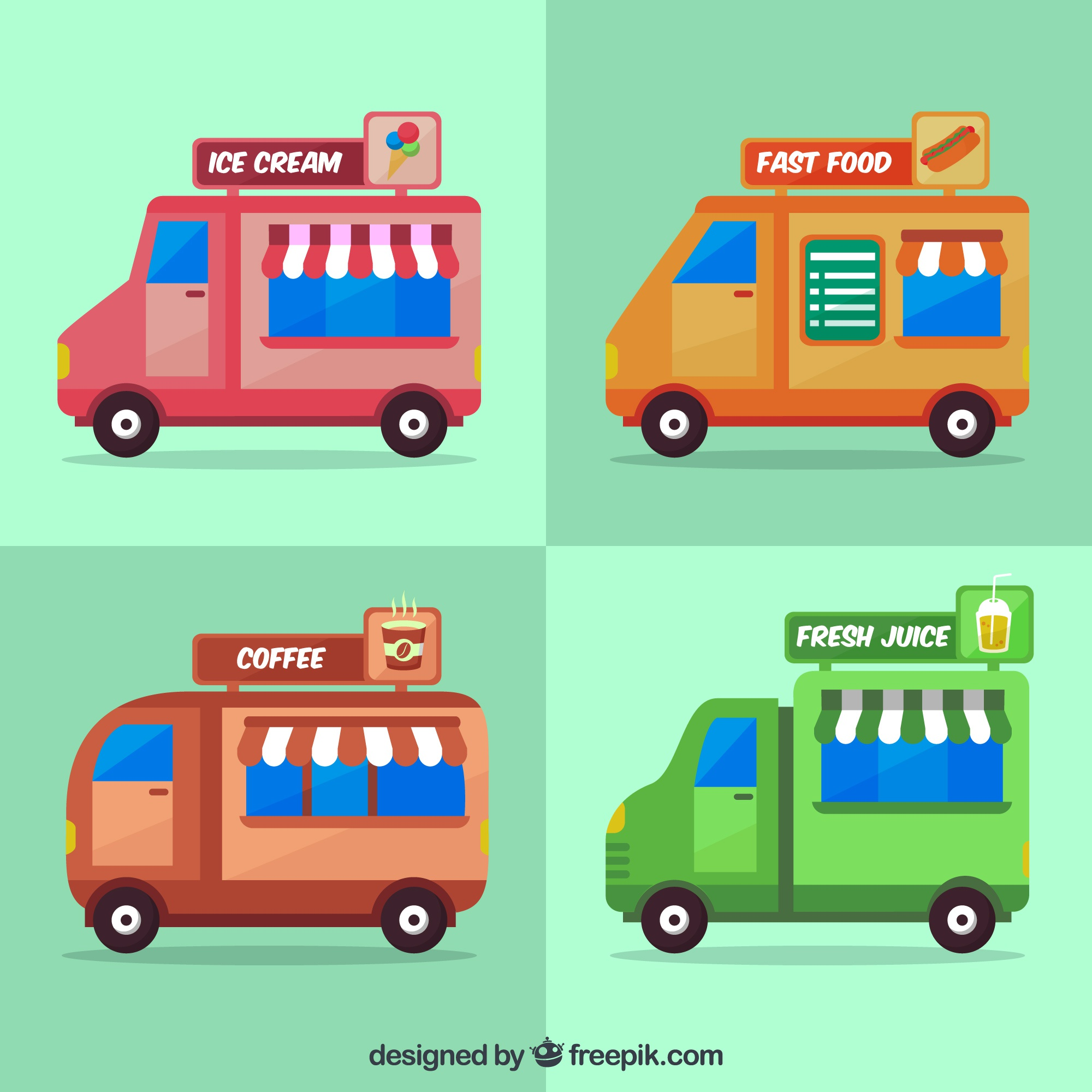 Flat variety of food trucks with fast food