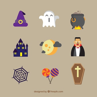 Flat variety of fun halloween elements