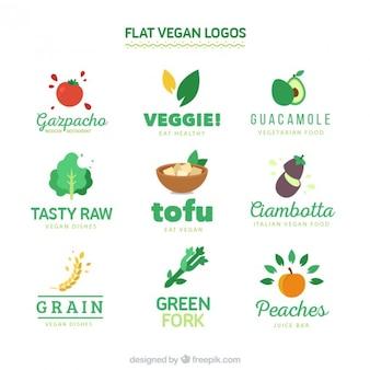 Flat vegan logos