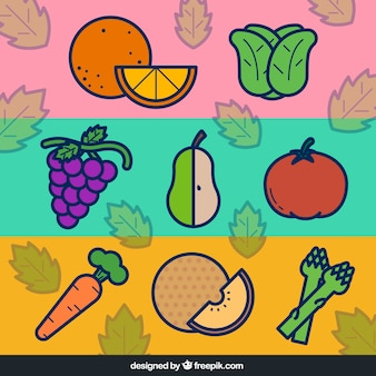 Flat vegetables and fruits banners