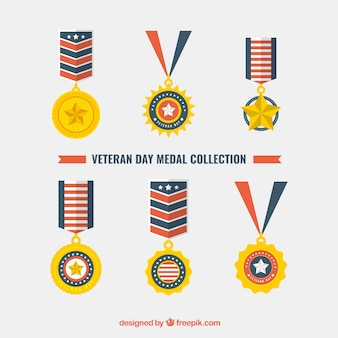 Flat veterans day medals