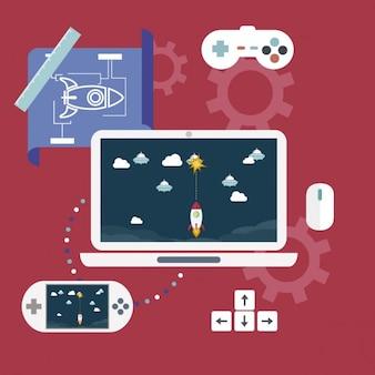 Flat video game development infographic