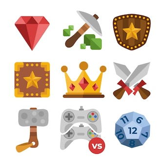 Flat videogame items set